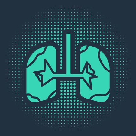 Green Lungs icon isolated on blue background. Abstract circle random dots. Vector Illustration Banco de Imagens - 138026830