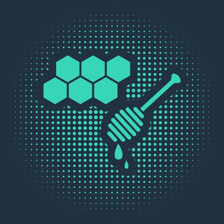 Green Honeycomb with honey dipper stickicon isolated on blue background. Honey ladle. Honey cells symbol. Sweet natural food. Abstract circle random dots. Vector Illustration