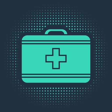 Green First aid kit icon isolated on blue background. Medical box with cross. Medical equipment for emergency. Healthcare concept. Abstract circle random dots. Vector Illustration Ilustracja