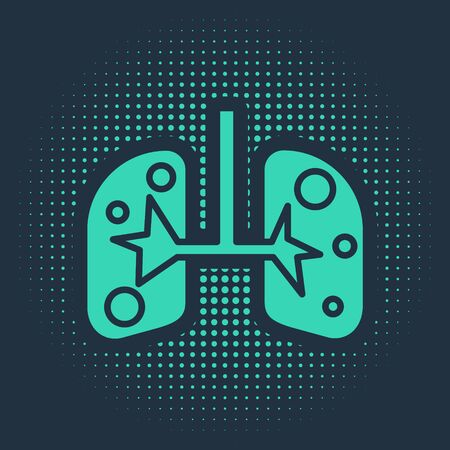 Green Lungs icon isolated on blue background. Abstract circle random dots. Vector Illustration Ilustração