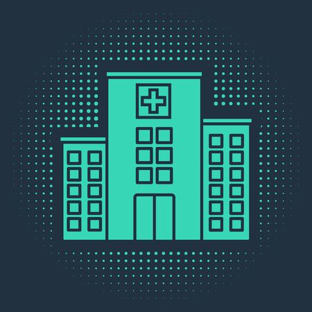 Green Medical hospital building with cross icon isolated on blue background. Medical center. Health care. Abstract circle random dots. Vector Illustration