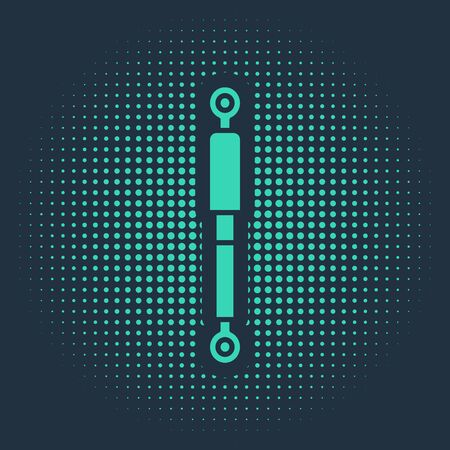 Green Shock absorber icon isolated on blue background. Abstract circle random dots. Vector Illustration
