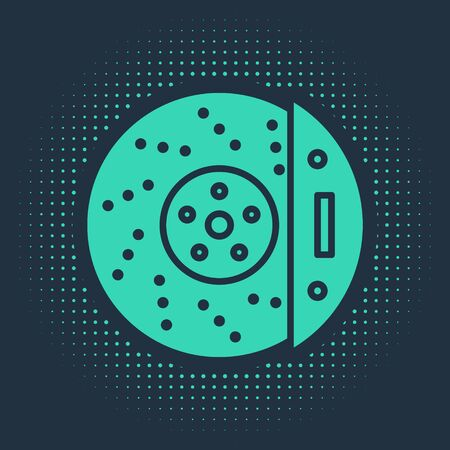 Green Car brake disk with caliper icon isolated on blue background. Abstract circle random dots. Vector Illustration