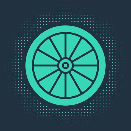 Green Car wheel icon isolated on blue background. Abstract circle random dots. Vector Illustration