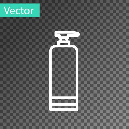White line Cream or lotion cosmetic tube icon isolated on transparent background. Body care products for men. Vector Illustration
