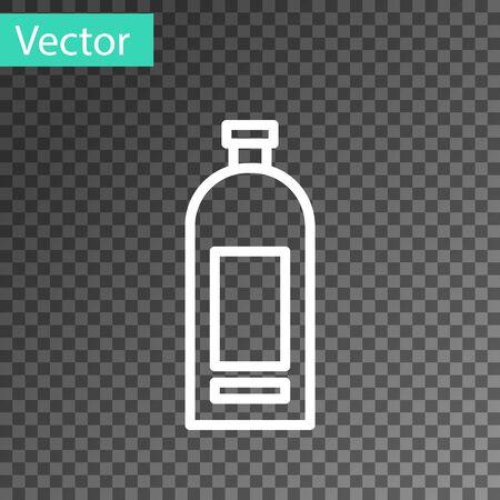 White line Bottle of shampoo icon isolated on transparent background. Vector Illustration