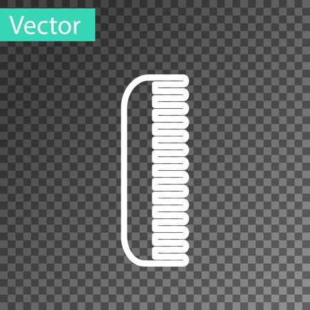 White line Hairbrush icon isolated on transparent background. Comb hair sign. Barber symbol. Vector Illustration