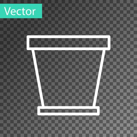 White line Flower pot icon isolated on transparent background. Vector Illustration