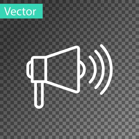 White line Megaphone icon isolated on transparent background. Loud speach alert concept. Bullhorn for Mouthpiece scream promotion. Vector Illustration