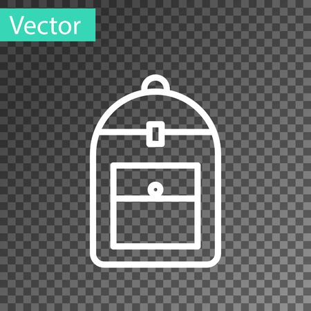 White line Backpack icon isolated on transparent background. Vector Illustration