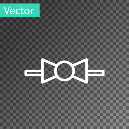 White line Bow tie icon isolated on transparent background. Vector Illustration