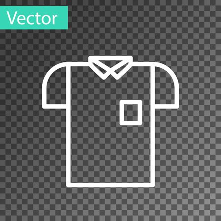 White line Polo shirt icon isolated on transparent background. Vector Illustration