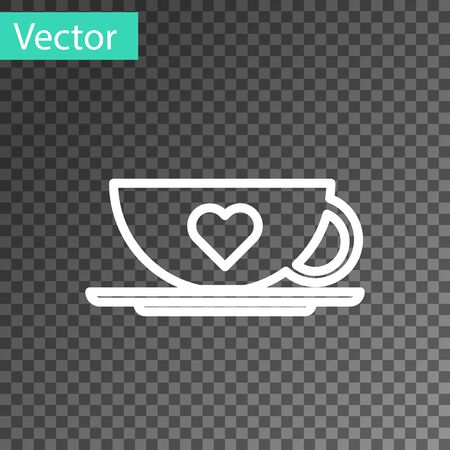 White line Coffee cup and heart icon isolated on transparent background. Couple coffee for lovers on Valentines Day. Vector Illustration Çizim