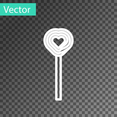 White line Lollipop icon isolated on transparent background. Candy sign. Food, delicious symbol. Valentines day. Love symbol. Vector Illustration