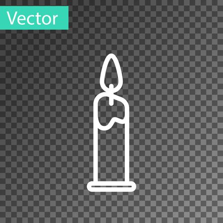 White line Burning candle in candlestick icon isolated on transparent background. Cylindrical candle stick with burning flame. Vector Illustration