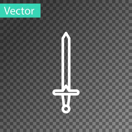 White line Medieval sword icon isolated on transparent background. Medieval weapon. Vector Illustration  イラスト・ベクター素材