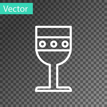 White line Medieval goblet icon isolated on transparent background. Vector Illustration