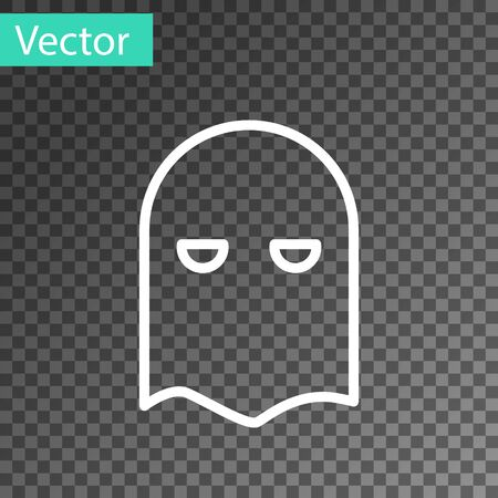 White line Executioner mask icon isolated on transparent background. Hangman, torturer, executor, tormentor, butcher, headsman icon. Vector Illustration