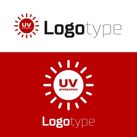 Red UV protection icon isolated on white background. Ultra violet rays radiation. SPF sun sign.