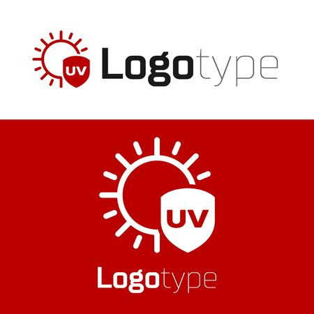Red UV protection icon isolated on white background. Sun and shield. Ultra violet rays radiation. SPF sun sign.