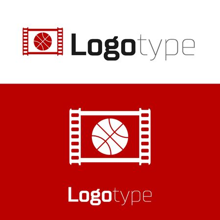 Red Basketball game video icon isolated on white background.