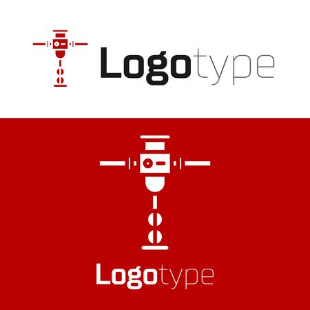 Red Construction jackhammer icon isolated on white background.