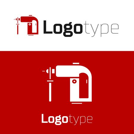 Red Electric rotary hammer drill machine icon isolated on white background. Working tool for construction, finishing, repair work.