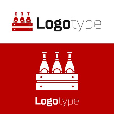 Red Pack of beer bottles icon isolated on white background. Wooden box and beer bottles. Case crate beer box sign.