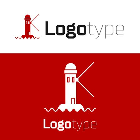 Red Lighthouse icon isolated on white background. Ilustrace