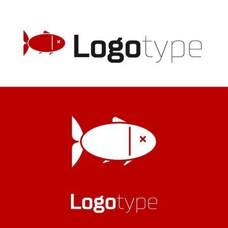 Red Fish icon isolated on white background.
