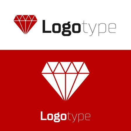 Red Diamond icon isolated on white background. Jewelry symbol. Gem stone.
