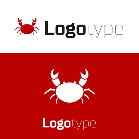 Red Crab icon isolated on white background.