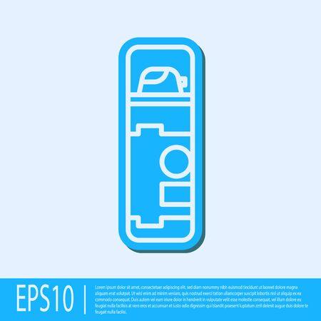 Blue line Shaving gel foam icon isolated on grey background. Shaving cream. Vector Illustration