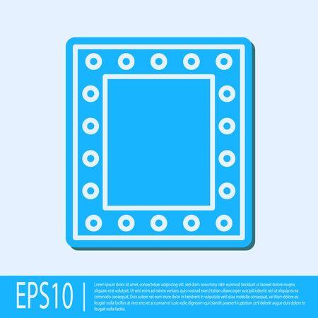 Blue line Makeup mirror with lights icon isolated on grey background. Vector Illustration Illusztráció