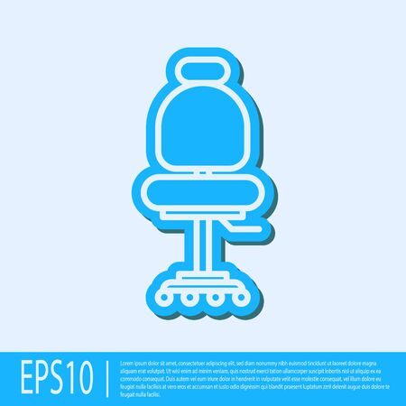 Blue line Office chair icon isolated on grey background. Vector Illustration Illustration