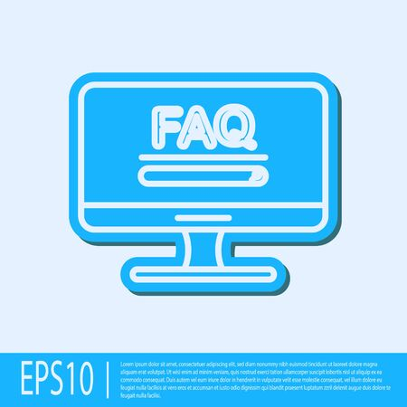 Blue line Computer monitor with text FAQ information icon isolated on grey background. Frequently asked questions. Vector Illustration Фото со стока - 138041866