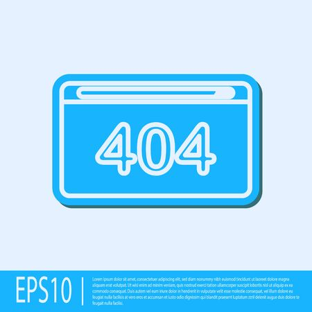 Blue line Page with a 404 error icon isolated on grey background. Template reports that the page is not found. Vector Illustration