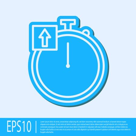 Blue line Stopwatch icon isolated on grey background. Time timer sign. Chronometer sign. Vector Illustration