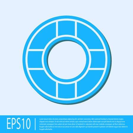 Blue line Lifebuoy icon isolated on grey background. Lifebelt symbol. Vector Illustration
