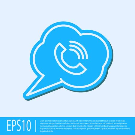 Blue line Speech bubble with phone call icon isolated on grey background. Vector Illustration Stock Illustratie