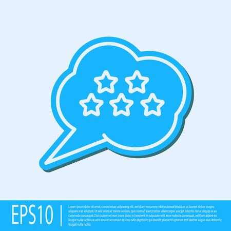 Blue line Five stars customer product rating review icon isolated on grey background. Favorite, best rating, award symbol. Vector Illustration