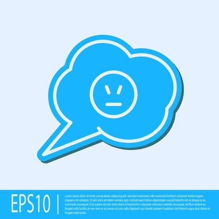 Blue line Speech bubble with angry smile icon isolated on grey background. Emoticon face. Vector Illustration