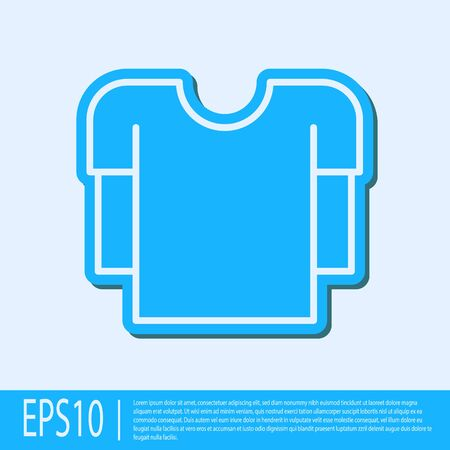 Blue line Long sleeve shirt icon isolated on grey background. Vector Illustration