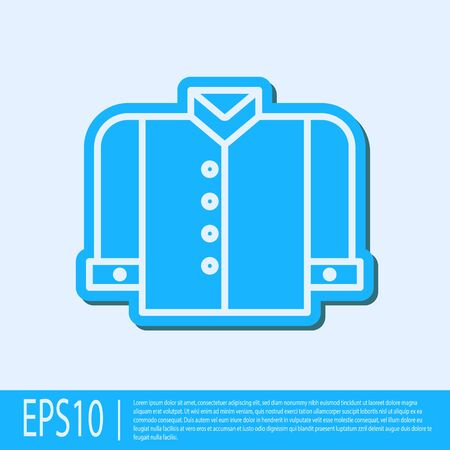 Blue line T-shirt icon isolated on grey background. Vector Illustration