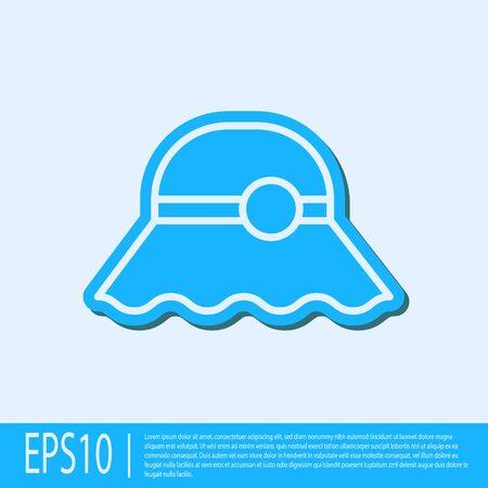 Blue line Elegant women hat icon isolated on grey background. Vector Illustration Standard-Bild - 138042558