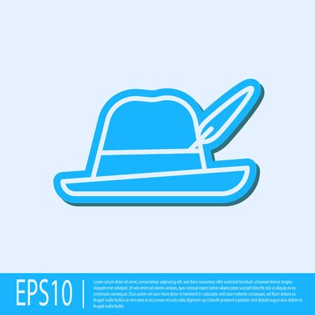 Blue line Oktoberfest hat icon isolated on grey background. Hunter hat with feather. German hat. Vector Illustration