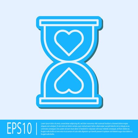 Blue line Heart in the center old hourglass icon isolated on grey background. Valentines day. Vector Illustration Foto de archivo - 138043211