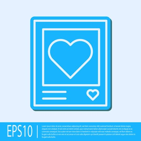 Blue line Blanks photo frames and hearts icon isolated on grey background. Valentines Day symbol. Vector Illustration