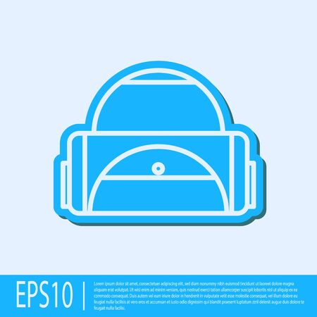 Blue line Sport bag icon isolated on grey background. Vector Illustration