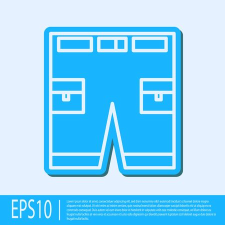 Blue line Short or pants icon isolated on grey background. Vector Illustration Illustration